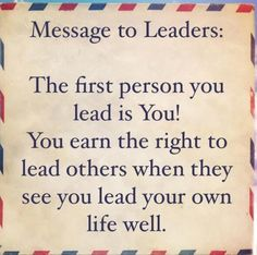 Message to leaders