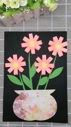 DIY Paper Flower Picture A simple tutorial to show you how to DIY a flower picture by using paper. Spring Crafts For Kids, Mothers Day Crafts For Kids, Paper Crafts For Kids, Preschool Crafts, Fun Crafts, Spring Flowers Art For Kids, Easter Crafts Kids, Arts And Crafts For Kids Toddlers, Easy Valentine Crafts
