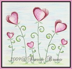 Valentine paper embroidery pattern for greeting cards