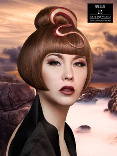 Misty River is an Haute Couture look inspired by meandering river which is surrounded by mist.  Excellent bob haircut with gold and red accent from top to the bottom reflects river flow.