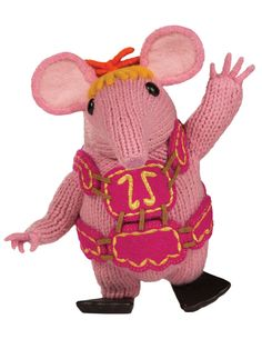 Make a Clanger outfit with your free BBC knitting and sewing pattern, all you need is some felt and gold metallic yarn!