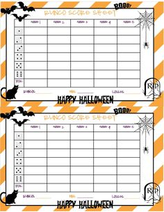 Recipes from Stephanie: Halloween Bunco Sheet