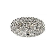 Dar Lighting Frost 5 Light Flush Crystal Ceiling Fitting - Dar Lighting from Castlegate Lights UK £150 roduct DetailsProduct DetailsProduct Details Size: Height 14cm Diameter 39cm  Wattage: 5 x 40w mains halogen (equivalent to approx 300w of normal light) Socket: G9 capsule