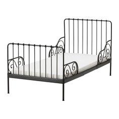 MINNEN Utdragbar sängstomme med ribbotten - svartbrun  - IKEA