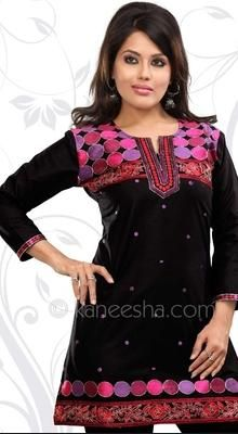 Black Cambric Cotton Embellished  Tunic