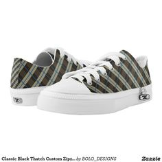 Classic Black Thatch Custom Zipz Low Top Kickers Printed Shoes