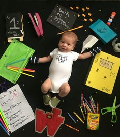 Diy photo shoot for baby's first month. August is back to school month so I chose this as a theme! Monthly Baby Photos, Newborn Baby Photos, Newborn Photography Studio, Newborn Baby Photography, Baby Girl Pictures, Baby Month By Month, New Baby Products, Diy Photo, Photo Shoot