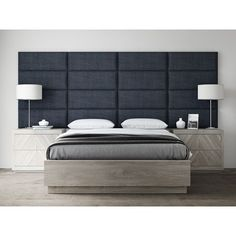Easily install an elegant upholstered headboard on any type of surface with the Vant Upholstered Headboard Panels. Arrives in a column of panels and available in a variety of sizes/panels, allowing you to create a headboard, accent wall, or focus piece. Bedroom Bed Design, Home Decor Bedroom, Bedroom Wall, Bedroom Designs, Blue Bedroom, Master Bedroom, Contemporary Bedroom, Modern Bedroom, Modern Headboard