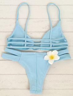 Solid Color Cami Bandage Bikini Set - LIGHT BLUE M