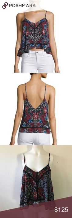 N/Nicholas • Border Floral Print Cami N Nicholas woven camisole in floral print with pointelle trim. V neckline and back. Thin shoulder straps (non adjustable). A line silhouette. Arched hem. Pullover style. Made in Australia. Retail $250 and still $175 on Neiman Marcus. NWT. US Size 6. Some minor pulls in the fabric (see the last collage and zoom in) the white scratch like marks. Hard to tell because of the pattern. 0807tj122 NICHOLAS Tops Tank Tops