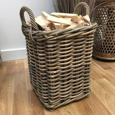 Rustic Kindling Basket in Rattan from The Farthing