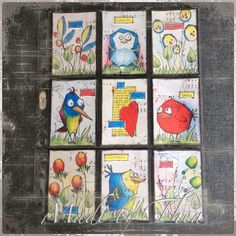 Pocket letter with the bird crazy van Tim Holz. Coloured with Paperartsy fresco paints