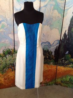 BY SMITH 8 WHITE 100% SILK LINED BLUE STRIPED CENTER STRAPLESS KNEE LENGTH DRESS #bySMITH #Sheath #Cocktail
