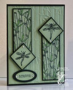 handmade card from On The Fringe ... Oriental Sketch Challenge #8 ... dragonflies and bamboo ... just two colors ... pale green cardstock with black ink and mats ... like the balance ...