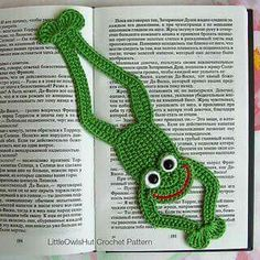 061 Frog Bookmark or decor - Amigurumi Crochet Pattern - PDF file by Zabelina Etsy Marque-pages Au Crochet, Crochet Mignon, Crochet Frog, Crochet Amigurumi, Crochet Motifs, Crochet Books, Crochet Gifts, Cute Crochet, Single Crochet