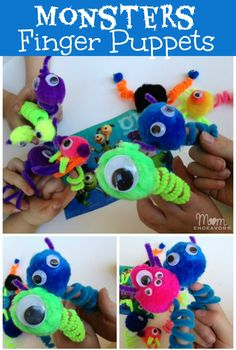 Monsters finger puppets via Mom Endeavors- inexpensive, easy-to-make, and monstrous fun! Monsters finger puppets via Mom Endeavors- inexpensive, easy-to-make, and monstrous fun! Easy Crafts For Kids, Fun Crafts, Arts And Crafts, Yoga For Kids, Art For Kids, Monster Crafts, Pipe Cleaner Crafts, Pipe Cleaners, Puppet Crafts