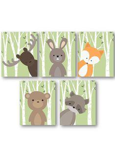 Woodland Nursery Decor - Woodland Nursery Art - Baby Boy Decor - Forest Animals Nursery - Animal Nursery - Animal Wall Art - PRINTS ONLY - Woodland Animal Decor, Forest Friends in or or Nursery Art, Cute for a Baby Showe -