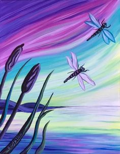 Join us for a Paint Nite event Wed Aug 2018 at 540 Ave NW Calgary, AB. Purchase your tickets online to reserve a fun night out! Easy Canvas Painting, Summer Painting, Diy Painting, Painting & Drawing, Canvas Art, Canvas Paintings, Dragonfly Painting, Dragonfly Wall Art, Paint And Sip