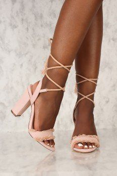 Sexy Blush Frayed Lace Up Tie Chunky Heels Faux Suede Cute High Heels, Thigh High Boots Heels, Strappy High Heels, Gladiator Heels, Socks And Heels, Lace Up Heels, Pumps Heels, Blush, Block Heel Shoes