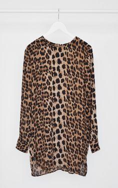 Leopard Print Long Sleeve Midi Dress with Boat Neck  Boat neck ...