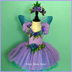 HALLOWEEN - Fairy Costume - Flower Girl - Lilac and blue faerie true - toddler size 2 to 4 $85