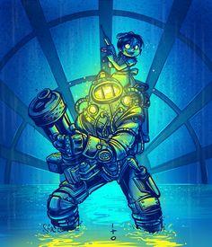 Big Daddy and Little Sister by Carlos ito Salazar Bioshock Infinite, Bioshock Rapture, Bioshock Game, Bioshock Series, Sisters Art, Little Sisters, Bioshock Artwork, Game Character, Character Design