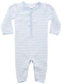 Purebaby - Knitted Growsuit Pale Blue  www.organicbabe.com.au