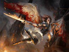 Flameblade Angel MtG Art by Cynthia Sheppard