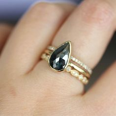 Rose Cut Deep Blue Teardrop Diamond In 14K Yellow Gold Engagement Ring $1,450.00 via Etsy. UM CAN I HAVE THIS NOW PLZ
