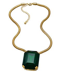 { Gold and Large Green Stone Necklace }