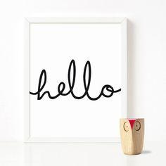 80% OFF SALE Hello print Hello wall art Hello por LeLoupPrintables