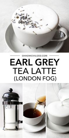 London Fog is a, Earl Grey tea latte with warm milk, vanilla extract, and sweetened with sugar. Make this London Fog drink at home with this easy recipe! Non Alcoholic Drinks, Beverages, London Fog Tea Latte, Hot Tea Recipes, Cappuccino Recipe, Earl Grey Tea, Tasty Recipe, Tea Sandwiches, High Tea