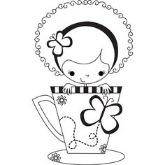 Shop for Stamping Bella Meredith the Teacup Girl Unmounted Rubber Stamp. Get free delivery On EVERYTHING* Overstock - Your Online Scrapbooking Shop! Coloring Book Pages, Printable Coloring Pages, Hand Embroidery, Embroidery Designs, Card Sentiments, Amazing Drawings, Hand Art, Applique Patterns, Digi Stamps