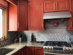 Long Brick Pattern Aluminum Mosaic Tile for Backsplash Fireplace & Wall Fireplace Wall, Fireplace Surrounds, Fireplace Design, Brick Patterns, Tile Installation, Call Backs, Kitchen Photos, Mosaic Tiles, Backsplash