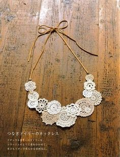 DIY How to make your own Mori style necklace out of mini crochet doilies- going to try and do this. I think you can buy the doilies already made? Crochet Doilies, Knit Crochet, Diy Accessoires, Diy Schmuck, Bijoux Diy, Crochet Accessories, Jewelry Crafts, Diy Lace Jewelry, Crochet Jewellery