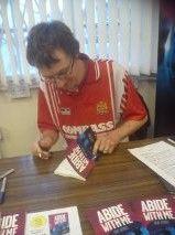Signing books at the Mighty Dagenham & Redbridge FC, 15/12/2012