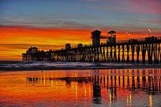 Oceanside Pier under fiery skies- January 29, 2013