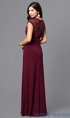 Shop cheap long merlot red prom dresses at Simply Dresses. Long designer formal dresses under $100 with cap sleeves, sheer necklines and slits.
