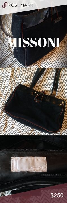 EUC Rich Black Suede Leather Shoulder Bag EUC Gorgeous black leather suede purse. 4 lg pockets (1 zipper, 1 velcro, 2 open) & 3 sm pockets (1 zipper, 2 open) Toggle closes main compartment consisting of 3 lg pockets. Lg velcro pocket on back is knit (as shown in bottom pic). Black leather straps, w/ brown edging. Missoni Bags Shoulder Bags