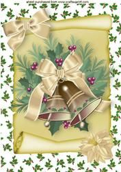 Christmas Gold Bells With Cream Bow, A4