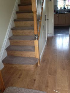 Carpet and Wood stairs Carpet Treads, Carpet Staircase, Wood Staircase, Staircase Design, Staircases, Stairs With Carpet And Laminate, Flooring For Stairs, Wood Flooring, Floors