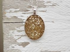 Glass glitter silver pendant charm  Gold  by sewwhimsycreations