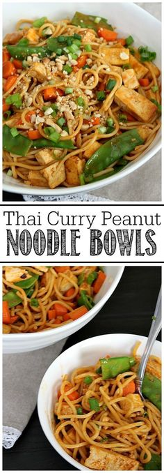 Delicious Thai curry peanut noodles - can add tofu for a vegetarian option or chicken. Such a quick and easy dinner idea in less than 30 minutes! Gourmet Recipes, Asian Recipes, Dinner Recipes, Cooking Recipes, Ethnic Recipes, Thai Cooking, Budget Recipes, Asian Foods, Vegetarian Options
