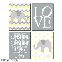 Nursery Wall Decor-Childrens Wall Art-You are My Sunsine-Yellow Gray Nursery-Elephant Nursery Art-Art Prints for girls-Chevron-Baby Girl  on Etsy, $43.00
