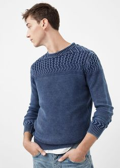 Contrasting knit sweater | MANGO MAN