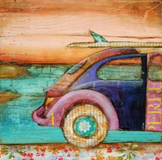 """Volkswagen vw bug & surfboard at Beach -""""The Perfect Day"""" - Fine Art Print 11x14"""