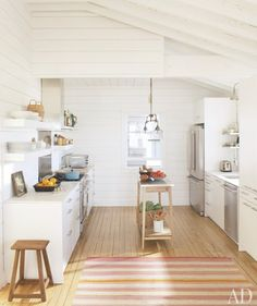 @Sarah Crawford this is cute how they have the narrow island....could work for your kitchen...?