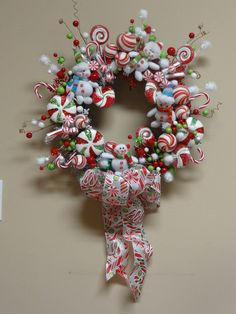Christmas candy & snowman wreath