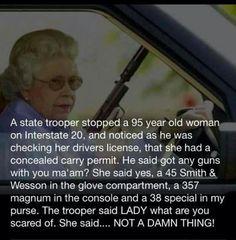 Gun tote'n Granny