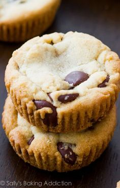 Soft-Baked Chocolate Chip Cookie Cups #recipe #dessert